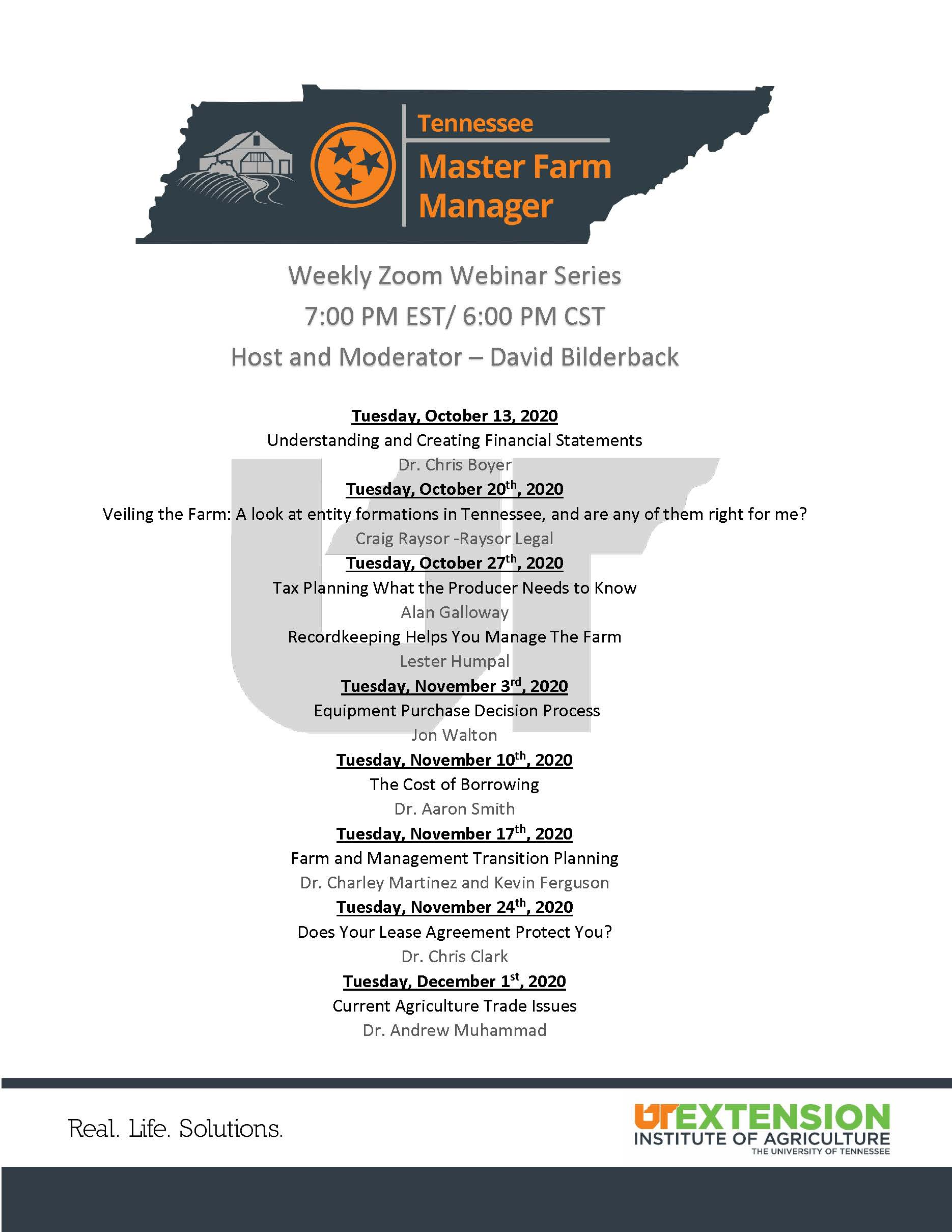 Master Farm Manager Schedule